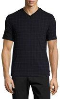 Armani Collezioni Caiman Grid-Print V-Neck T-Shirt, Blue/Black