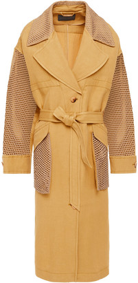 Alberta Ferretti Faux Suede-paneled Linen And Silk-blend Twill Coat