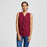 Merona Women's Sleeveless Ruffle Front Blouse Wild Cherry