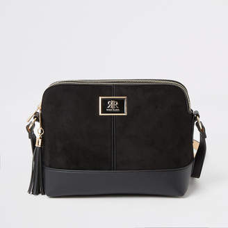 River Island Black suedette cross body bag
