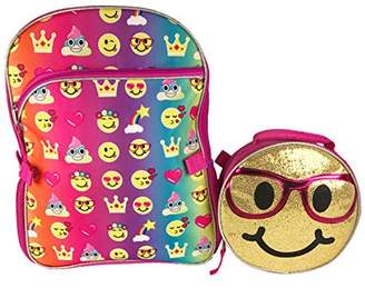 "Emoji Style Emoji 16"" Inch Backpack & Lunch Bag Set - Emojicon Style With Gold Sequin Removable Lunchbag"