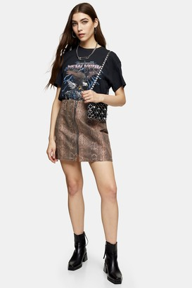 Topshop Sand Snake Print Zip Front Skirt