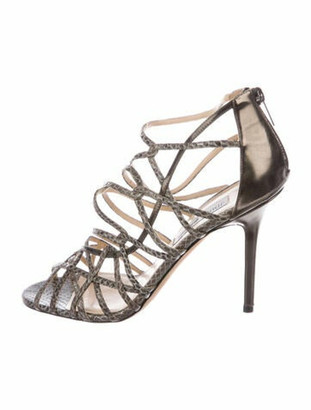 Jimmy Choo Leather Animal Print Sandals Silver