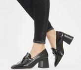 Office Matilda Block Heel Loafers Black Croc Leather