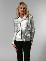 Zipper Detail Motorcycle Jacket Silver Crocodile