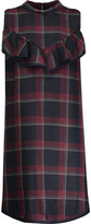Suno Ruffled plaid wool and silk-blend mini dress