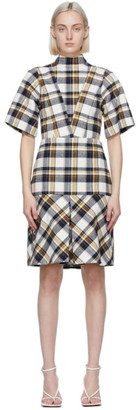 Victoria Beckham Off-White and Navy Check Mini Dress