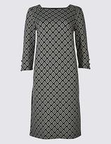 M&S Collection Cotton Rich Jacquard Print Tunic Midi Dress