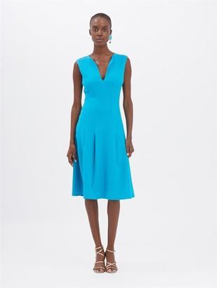 Oscar de la Renta Turquoise Pleated Dress