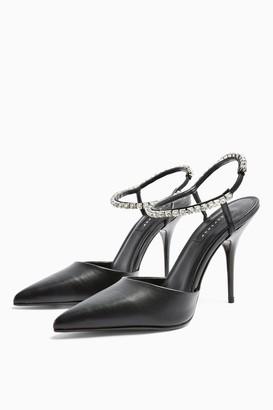 Topshop Womens Fierce Black Diamante Court Heels - Black