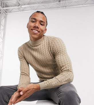 ASOS DESIGN Tall muscle fit lightweight cable jumper in oatmeal