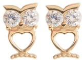 Candela 14K Yellow Gold CZ Owl Stud Earrings