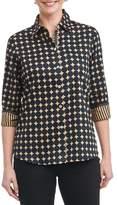 Foxcroft Petite Women's Ava Non-Iron Dot Print Cotton Shirt