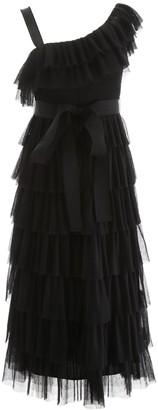 RED Valentino One-Shoulder Frill Tiered Dress