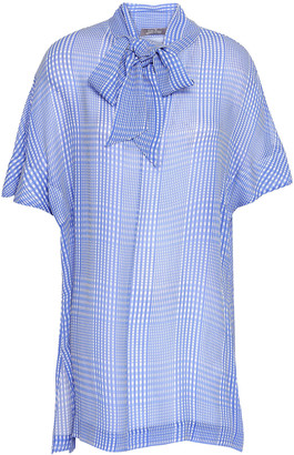 Lela Rose Pussy-bow Checked Silk-georgette Blouse