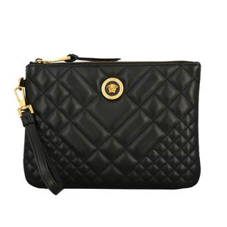 Versace Clutch Quilted Icon Wrist Clutch In Quilted Leather