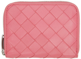 Bottega Veneta Pink Intrecciato Zip Coin Purse Wallet