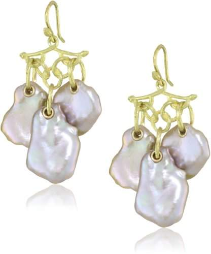 Gabrielle Sanchez 18k Yellow Gold and Keshi Cultured Pearl Earrings