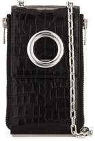 Alexander Wang Riot Crocodile-Embossed Shoulder Wallet, Black