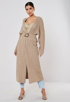 Missguided Beige Ribbed Belted Midaxi Cardigan