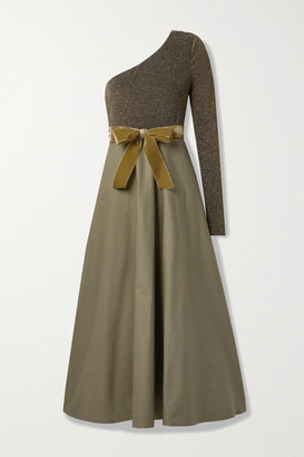 ARTCLUB Net Sustain Casa Miller One-sleeve Velvet-trimmed Cotton-twill And Stretch-lurex Wrap Maxi Dress - Army green