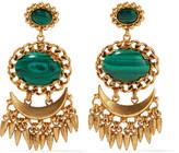 Elizabeth Cole Stockard gold-plated malachite earrings