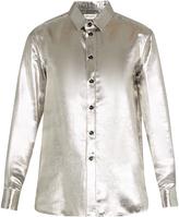 Saint Laurent Long-sleeved silk-blend lamé shirt