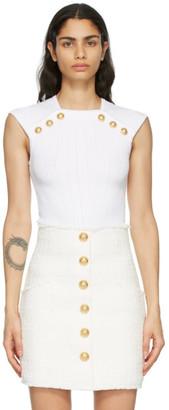 Balmain White Knit Button Tank Top