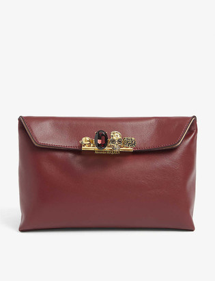 Alexander McQueen Skull-embellished knuckleduster leather pouch