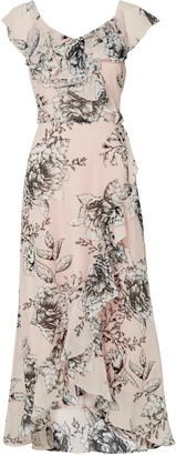 Wallis Pink Floral Print Ruffle Midi Dress