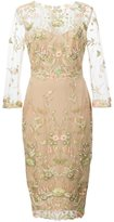 Marchesa flower embroidered dress - women - Nylon - 14