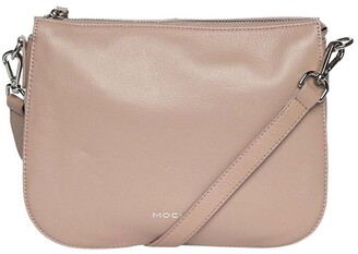 Mocha Bella Saddle Leather Crossbody Bag - Taupe