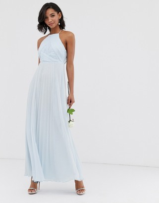 Asos Design DESIGN Bridesmaid pinny maxi dress with ruched bodice-Blue