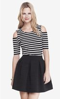 Express Striped Cold Shoulder Fitted Tee