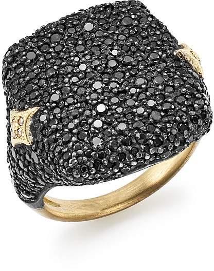 Armenta 18K Yellow Gold & Blackened Sterling Silver Old World Champagne Diamond & Black Sapphire Signet Ring