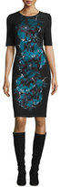 St. John Floral-Jacquard Crewneck Knit Dress, Caviar/Multi