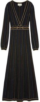 Gucci glitter lame striped dress