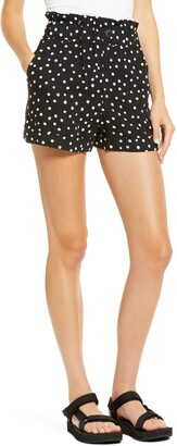 Topshop Spot Paperbag Waist Turn-Up Shorts