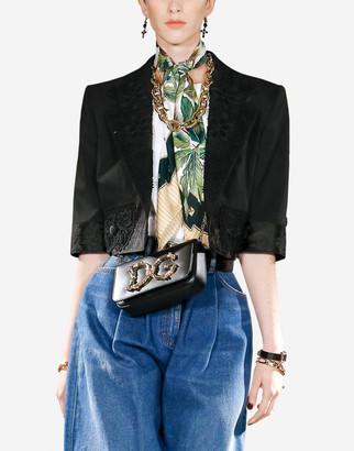 Dolce & Gabbana Stretch Wool Bolero Jacket With Macrame Details