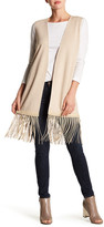 Vince Wool Blend Knit Leather Fringe Vest