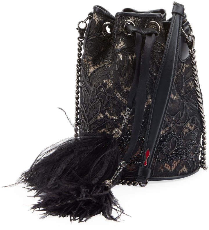 2573de3524 Marie Jane Dentelle Lace Bucket Bag with Feathers