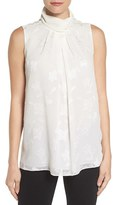 Ellen Tracy Women's Stand Collar Pleat Front Shell