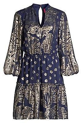 Lilly Pulitzer Women's Joella Seagrass-Print Metallic Silk Puff-Sleeve A-Line Dress