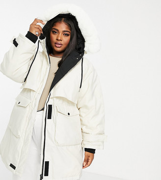 Sixth June Plus oversized techy padded jacket with faux fur hood