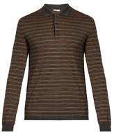 Boglioli Long-sleeved striped wool-blend polo shirt