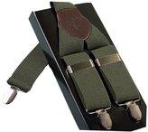 Acme Men's Leather Clip-on Suspenders 3 Clips Elastic Y-Shape Adjustable Braces