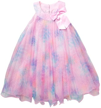 Gerson & Gerson Tie-Dye Crystal Pleated Tulle Dress