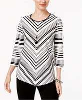 Alfred Dunner Talk of The Town Chevron-Striped Necklace Top