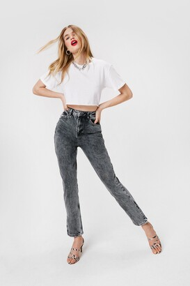 Nasty Gal Womens Acid Wash Out for Us High-Waisted Mom Jeans - Light Grey