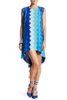 Dress the Population Camilla Crochet Shoulder Knit Print Dress